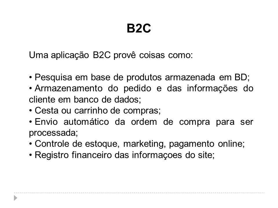 B2C Uma aplicação B2C provê coisas como: Pesquisa em base de produtos armazenada em BD; Armazenamento do pedido e das informações do cliente em banco