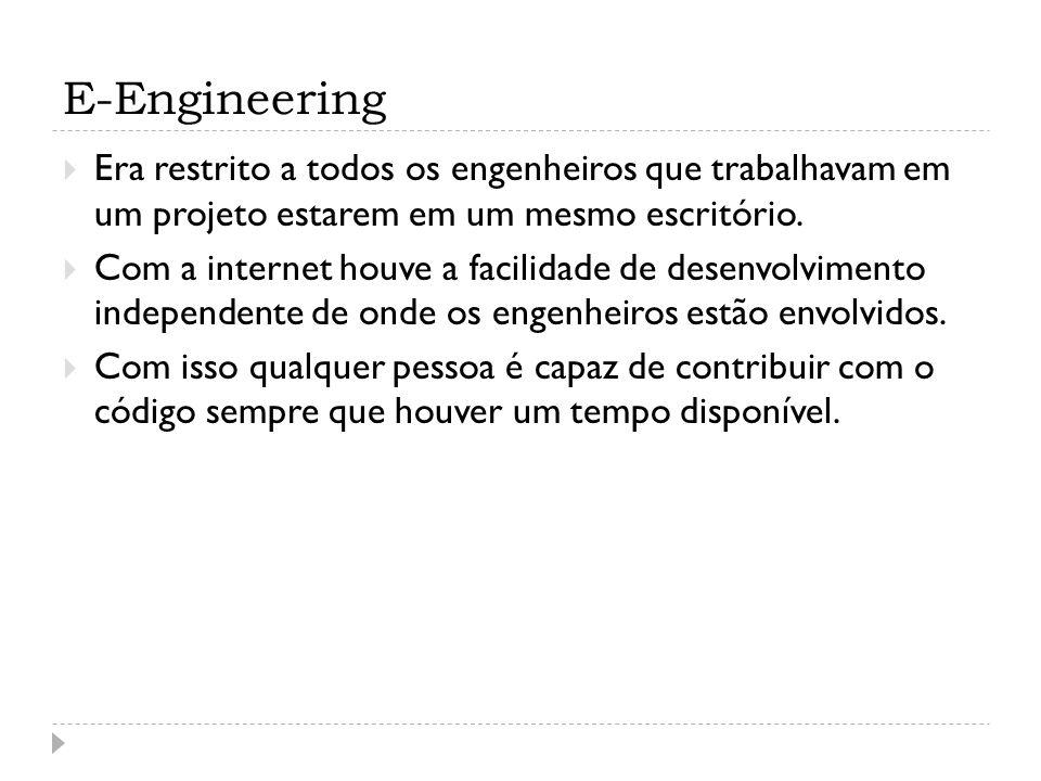 E-Engineering Era restrito a todos os engenheiros que trabalhavam em um projeto estarem em um mesmo escritório. Com a internet houve a facilidade de d