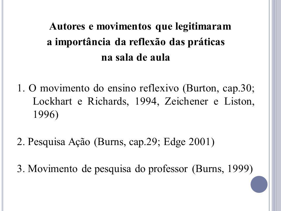Autores e movimentos que legitimaram a importância da reflexão das práticas na sala de aula 1. O movimento do ensino reflexivo (Burton, cap.30; Lockha