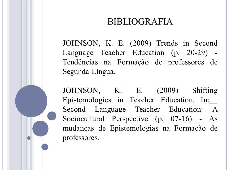 BIBLIOGRAFIA JOHNSON, K. E. (2009) Trends in Second Language Teacher Education (p. 20-29) - Tendências na Formação de professores de Segunda Língua. J