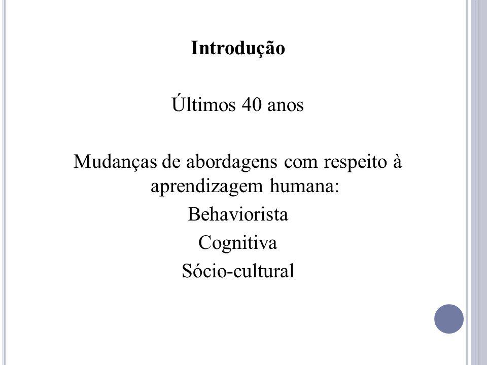 Introdução Últimos 40 anos Mudanças de abordagens com respeito à aprendizagem humana: Behaviorista Cognitiva Sócio-cultural