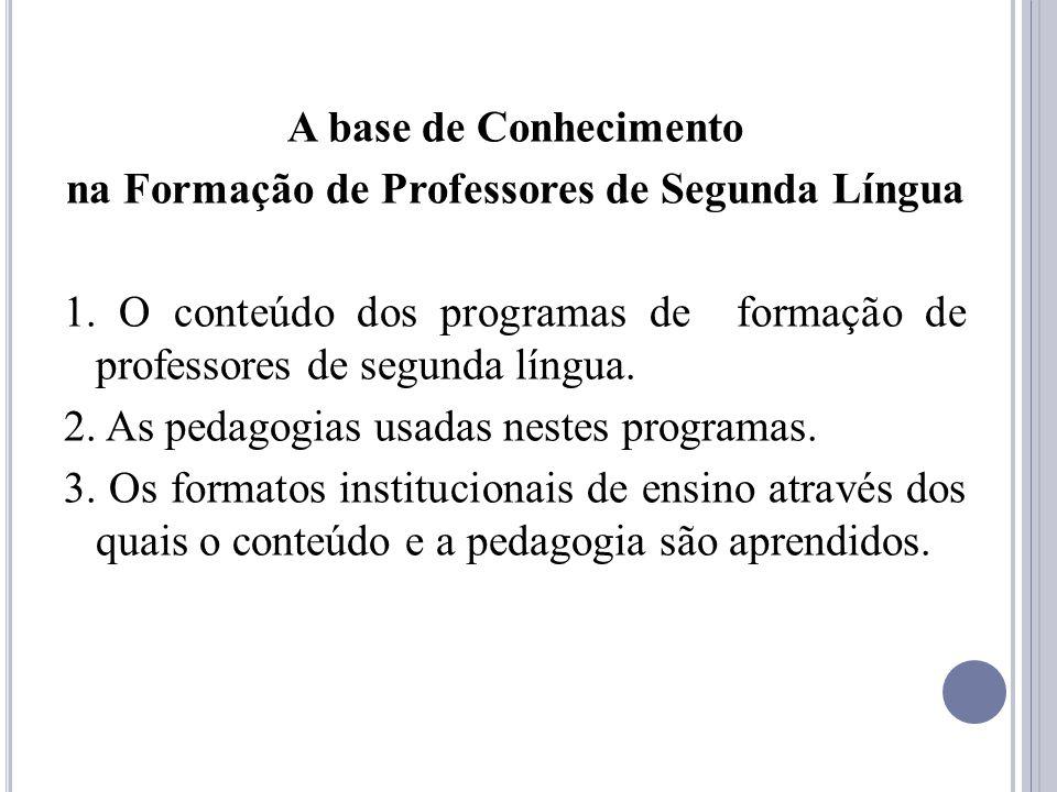 A base de Conhecimento na Formação de Professores de Segunda Língua 1. O conteúdo dos programas de formação de professores de segunda língua. 2. As pe