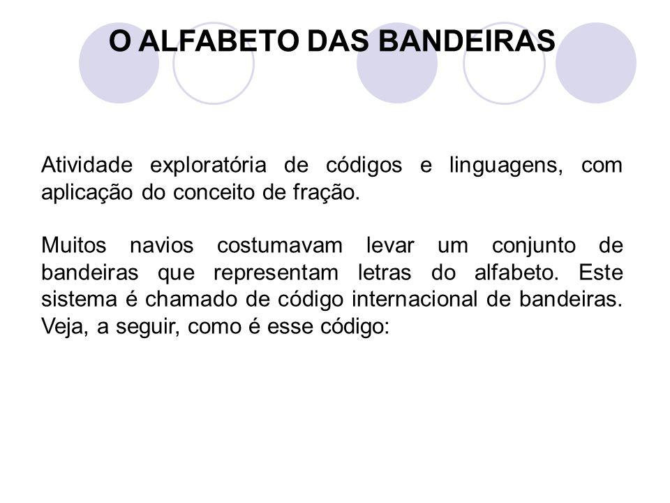 O ALFABETO DAS BANDEIRAS Atividade exploratória de códigos e linguagens, com aplicação do conceito de fração. Muitos navios costumavam levar um conjun