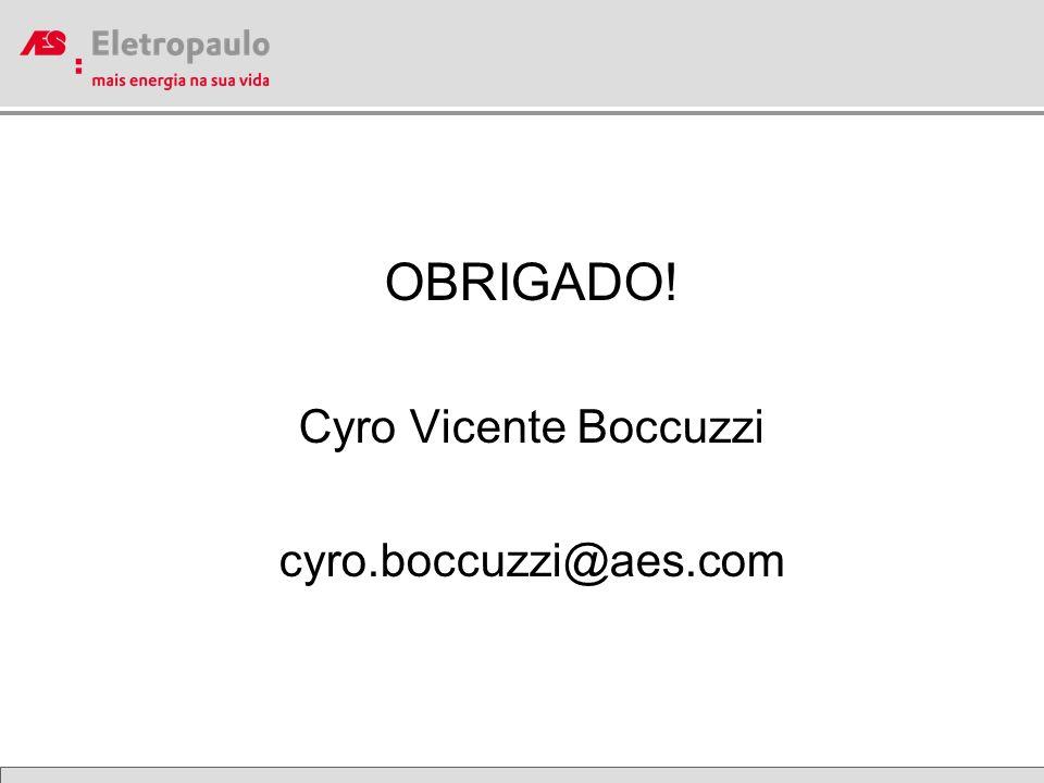 OBRIGADO! Cyro Vicente Boccuzzi cyro.boccuzzi@aes.com
