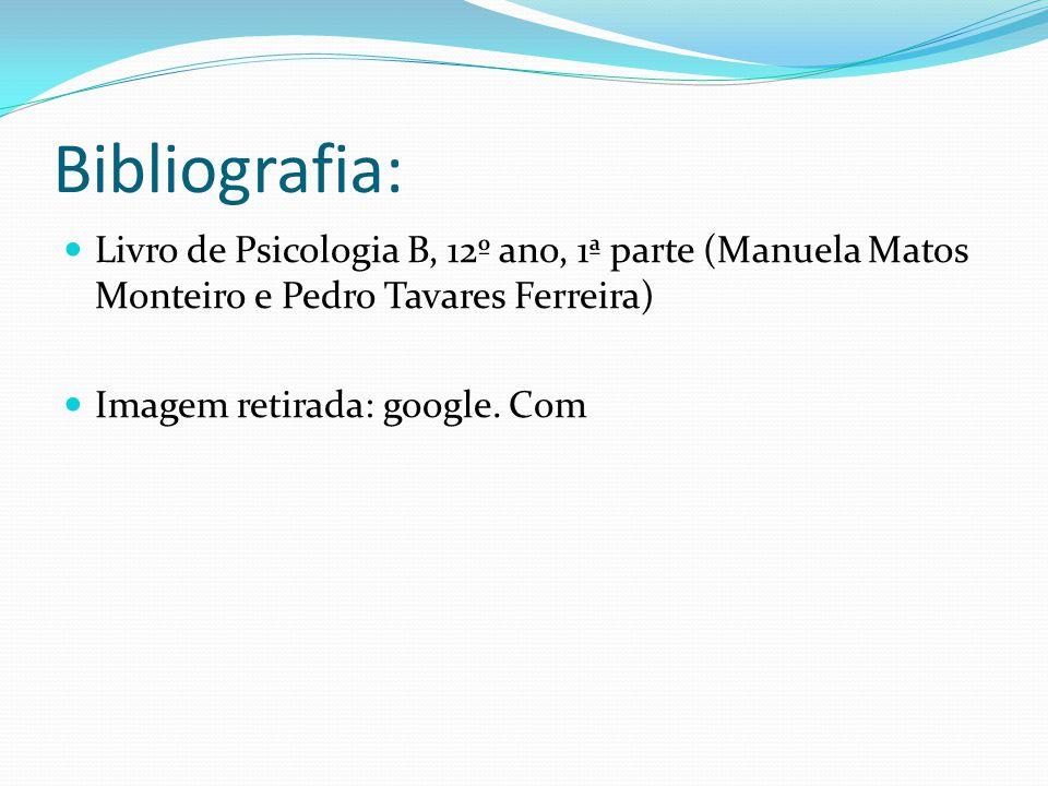 Bibliografia: Livro de Psicologia B, 12º ano, 1ª parte (Manuela Matos Monteiro e Pedro Tavares Ferreira) Imagem retirada: google. Com