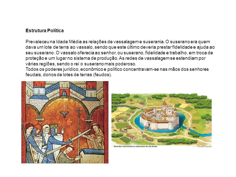 Estrutura Política Prevaleceu na Idade Média as relações de vassalagem e suserania. O suserano era quem dava um lote de terra ao vassalo, sendo que es
