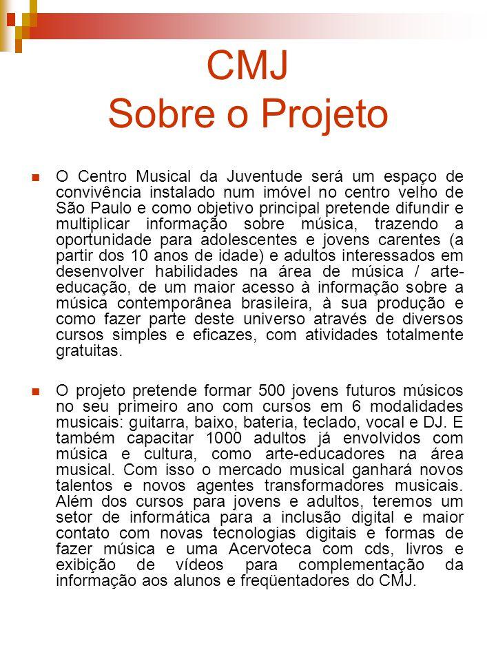 CMJ Sobre o Projeto O Centro Musical da Juventude será um espaço de convivência instalado num imóvel no centro velho de São Paulo e como objetivo prin