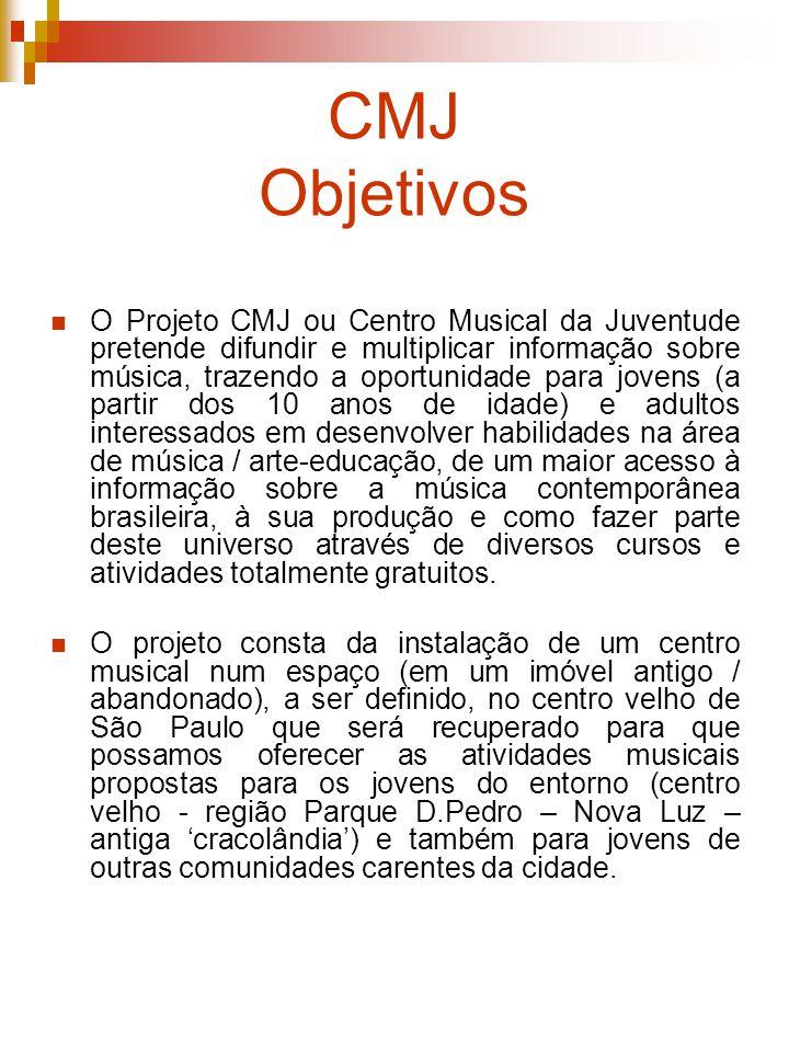 CMJ Objetivos O Projeto CMJ ou Centro Musical da Juventude pretende difundir e multiplicar informação sobre música, trazendo a oportunidade para joven