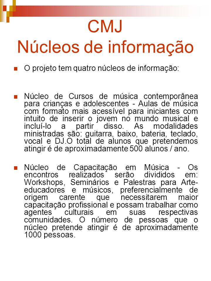 CMJ Núcleos de informação O projeto tem quatro núcleos de informação: Núcleo de Cursos de música contemporânea para crianças e adolescentes - Aulas de