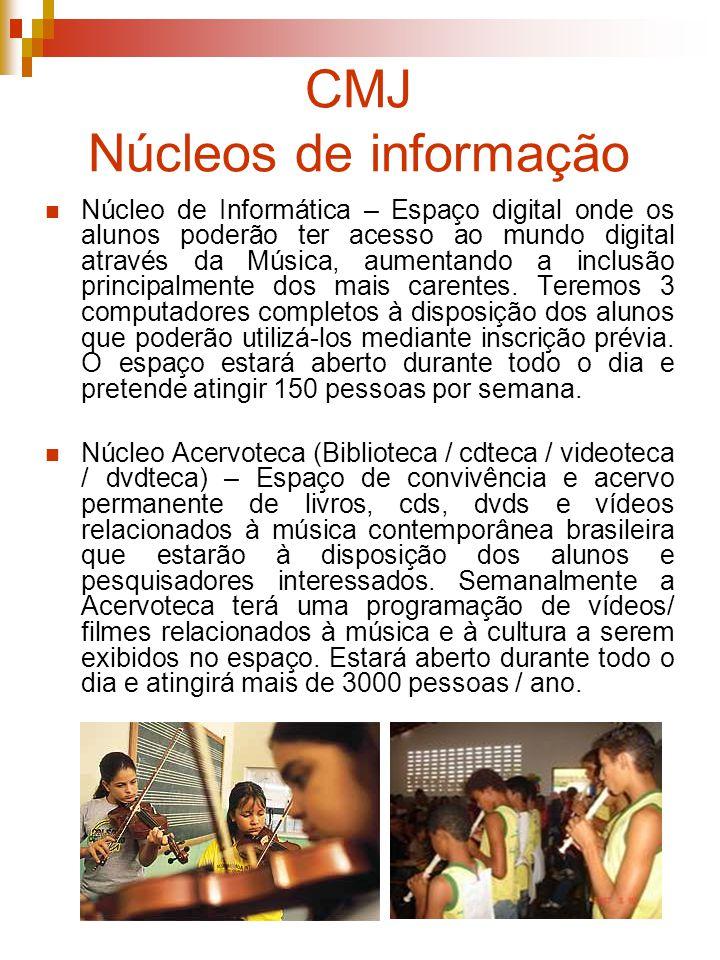 CMJ Público O público beneficiado diretamente (cursos) é de 1500 pessoas entre adolescentes jovens e adultos.