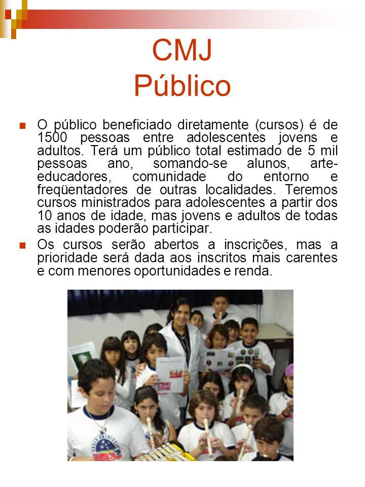 CMJ Público O público beneficiado diretamente (cursos) é de 1500 pessoas entre adolescentes jovens e adultos. Terá um público total estimado de 5 mil