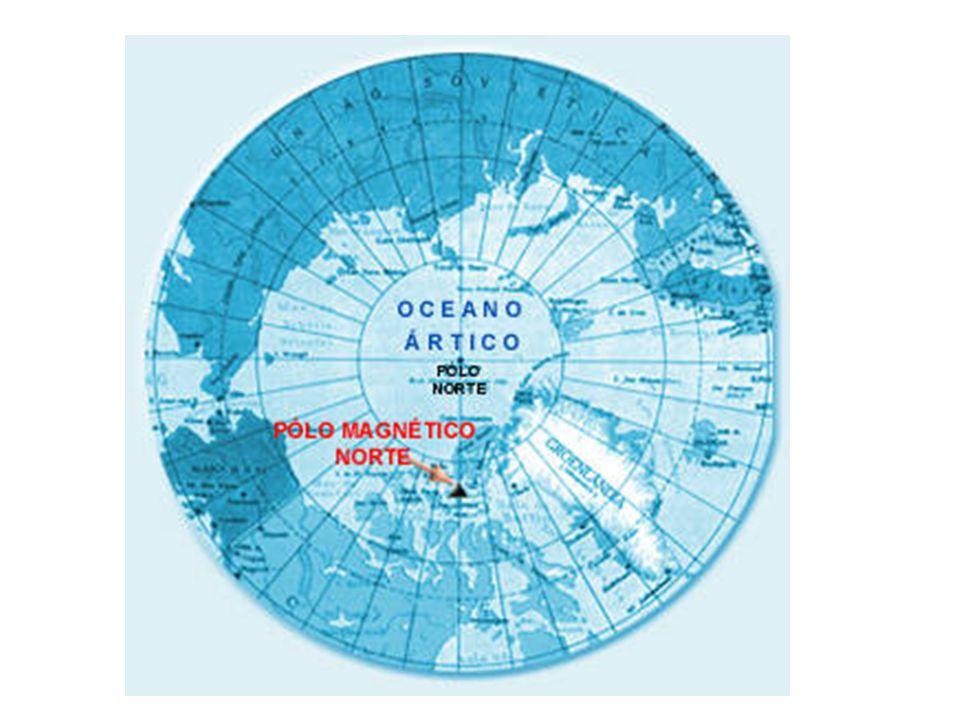 Uma agulha imantada aponta sempre para o polo norte magnético e, de modo aproximado, para o norte geográfico.