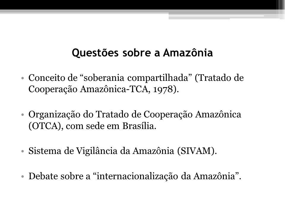 Questões sobre a Amazônia Conceito de soberania compartilhada (Tratado de Cooperação Amazônica-TCA, 1978). Organização do Tratado de Cooperação Amazôn