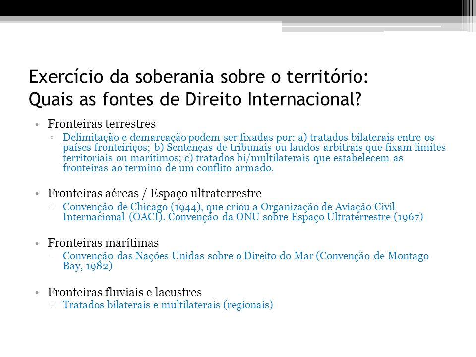 Exercício da soberania sobre o território: Quais as fontes de Direito Internacional? Fronteiras terrestres Delimitação e demarcação podem ser fixadas