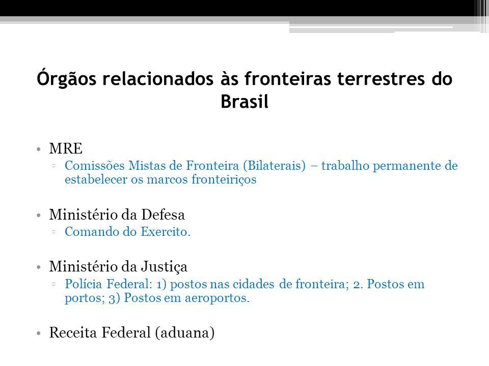 Órgãos relacionados às fronteiras terrestres do Brasil MRE Comissões Mistas de Fronteira (Bilaterais) – trabalho permanente de estabelecer os marcos fronteiriços Ministério da Defesa Comando do Exercito.