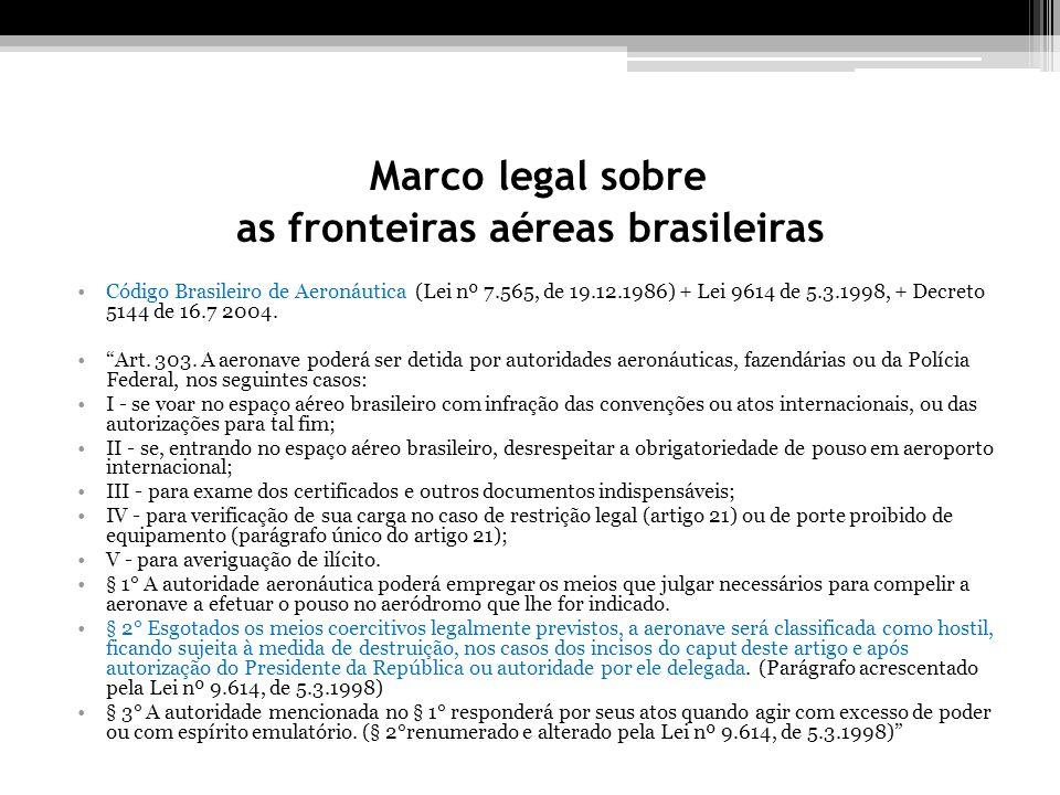 Marco legal sobre as fronteiras aéreas brasileiras Código Brasileiro de Aeronáutica (Lei nº 7.565, de 19.12.1986) + Lei 9614 de 5.3.1998, + Decreto 5144 de 16.7 2004.