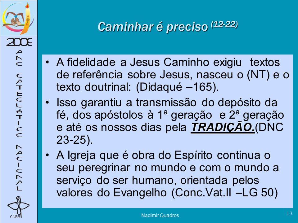 Nadimir Quadros 13 Caminhar é preciso (12-22) A fidelidade a Jesus Caminho exigiu textos de referência sobre Jesus, nasceu o (NT) e o texto doutrinal: (Didaqué –165).