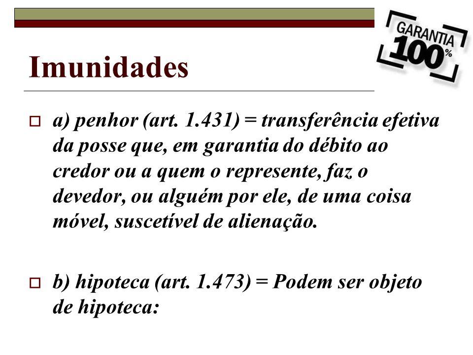 Imunidades a) penhor (art. 1.431) = transferência efetiva da posse que, em garantia do débito ao credor ou a quem o represente, faz o devedor, ou algu