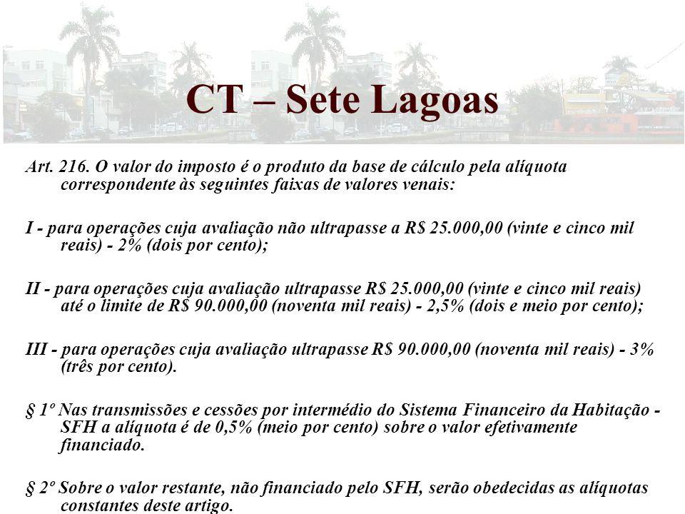 Art. 216. O valor do imposto é o produto da base de cálculo pela alíquota correspondente às seguintes faixas de valores venais: I - para operações cuj