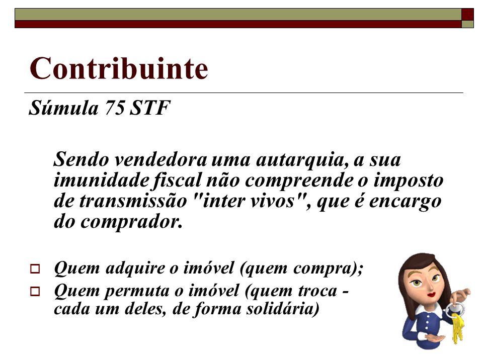 Contribuinte Súmula 75 STF Sendo vendedora uma autarquia, a sua imunidade fiscal não compreende o imposto de transmissão