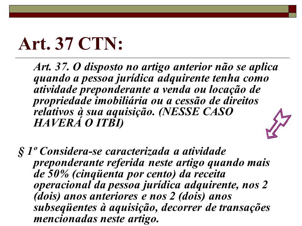 Art. 37 CTN: Art. 37. O disposto no artigo anterior não se aplica quando a pessoa jurídica adquirente tenha como atividade preponderante a venda ou lo