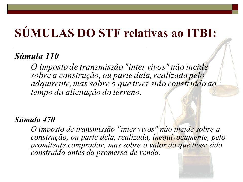 SÚMULAS DO STF relativas ao ITBI: Súmula 110 O imposto de transmissão