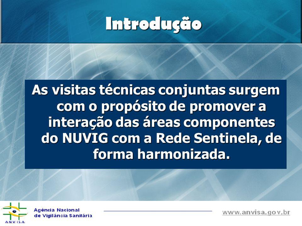 Introdução As visitas técnicas conjuntas surgem com o propósito de promover a interação das áreas componentes do NUVIG com a Rede Sentinela, de forma harmonizada.