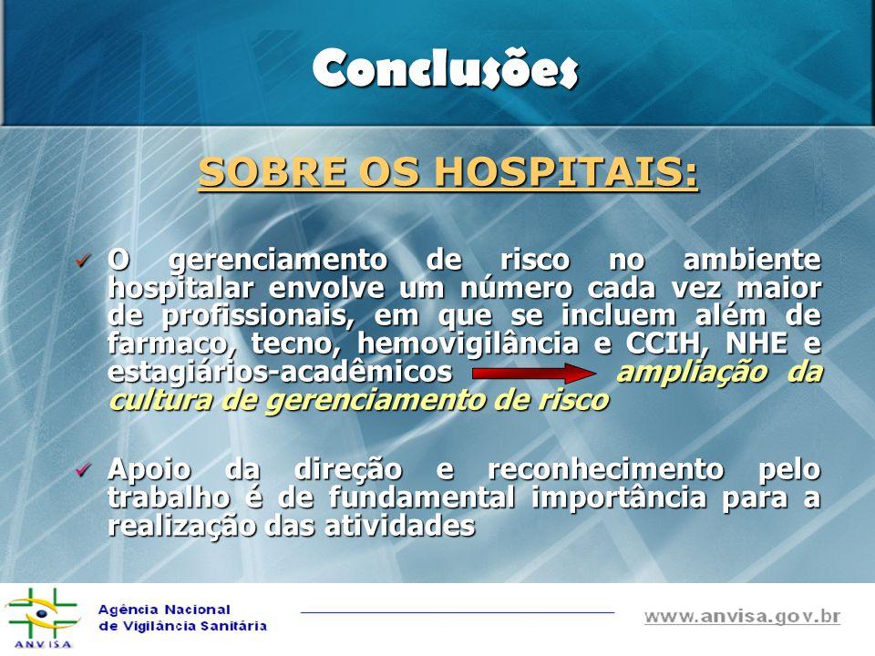 Conclusões SOBRE OS HOSPITAIS: O gerenciamento de risco no ambiente hospitalar envolve um número cada vez maior de profissionais, em que se incluem al