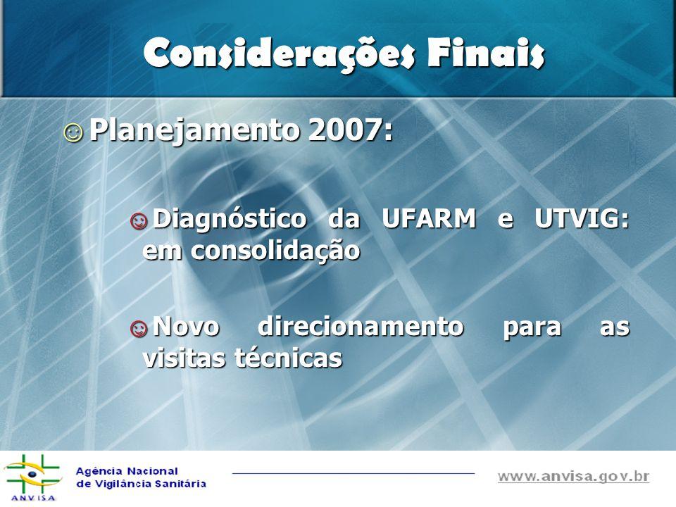 Considerações Finais Planejamento 2007: Planejamento 2007: Diagnóstico da UFARM e UTVIG: em consolidação Diagnóstico da UFARM e UTVIG: em consolidação Novo direcionamento para as visitas técnicas Novo direcionamento para as visitas técnicas