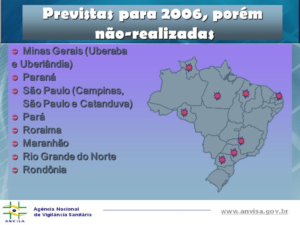 Previstas para 2006, porém não-realizadas Minas Gerais (Uberaba Minas Gerais (Uberaba e Uberlândia) Paraná Paraná São Paulo (Campinas, São Paulo (Camp