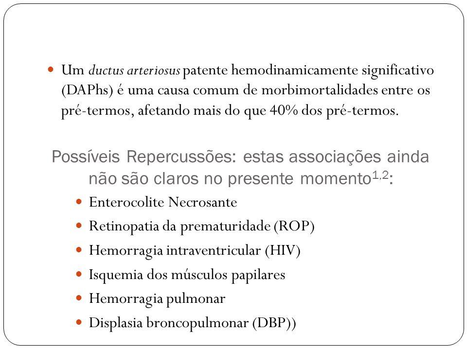 Possíveis Repercussões: estas associações ainda não são claros no presente momento 1,2 : Enterocolite Necrosante Retinopatia da prematuridade (ROP) Hemorragia intraventricular (HIV) Isquemia dos músculos papilares Hemorragia pulmonar Displasia broncopulmonar (DBP)) Um ductus arteriosus patente hemodinamicamente significativo (DAPhs) é uma causa comum de morbimortalidades entre os pré-termos, afetando mais do que 40% dos pré-termos.