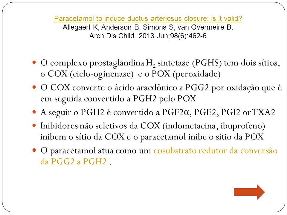 O complexo prostaglandina H 2 sintetase (PGHS) tem dois sítios, o COX (ciclo-oginenase) e o POX (peroxidade) O COX converte o ácido aracdônico a PGG2 por oxidação que é em seguida convertido a PGH2 pelo POX A seguir o PGH2 é convertido a PGF2 α, PGE2, PGI2 or TXA2 Inibidores não seletivos da COX (indometacina, ibuprofeno) inibem o sítio da COX e o paracetamol inibe o sítio da POX O paracetamol atua como um cosubstrato redutor da conversão da PGG2 a PGH2.