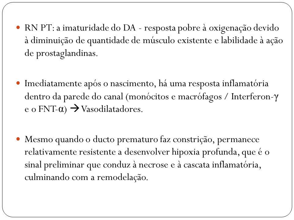RN PT: a imaturidade do DA - resposta pobre à oxigenação devido à diminuição de quantidade de músculo existente e labilidade à ação de prostaglandinas.