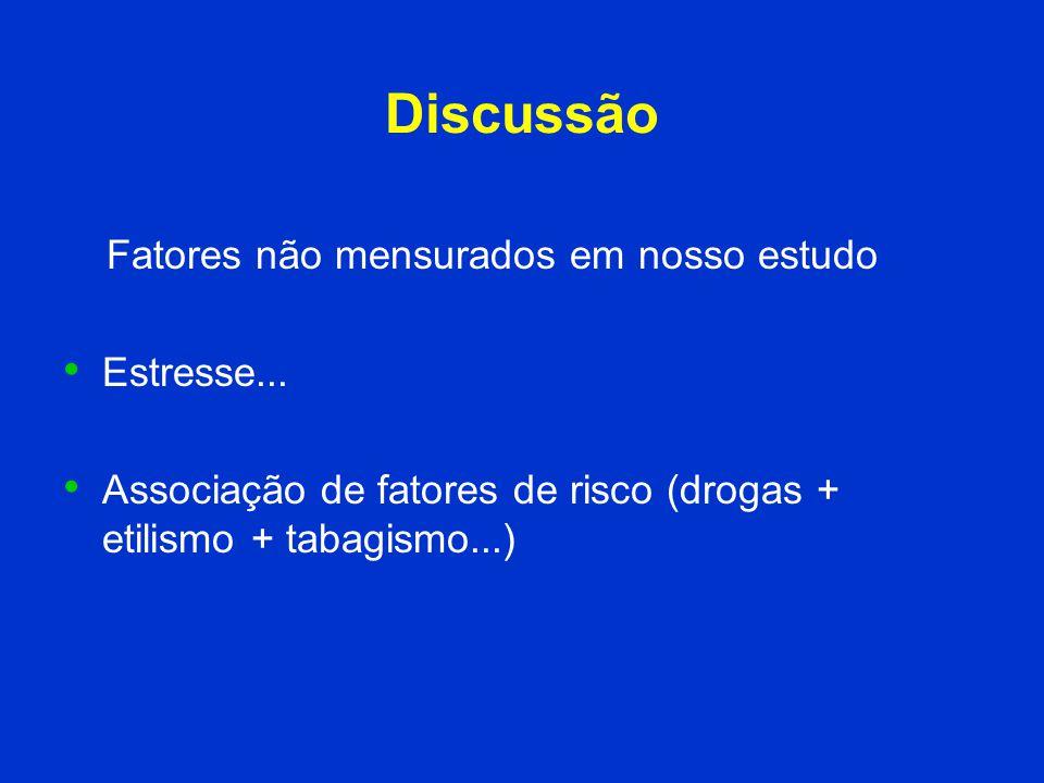 Discussão Fatores não mensurados em nosso estudo Estresse... Associação de fatores de risco (drogas + etilismo + tabagismo...)