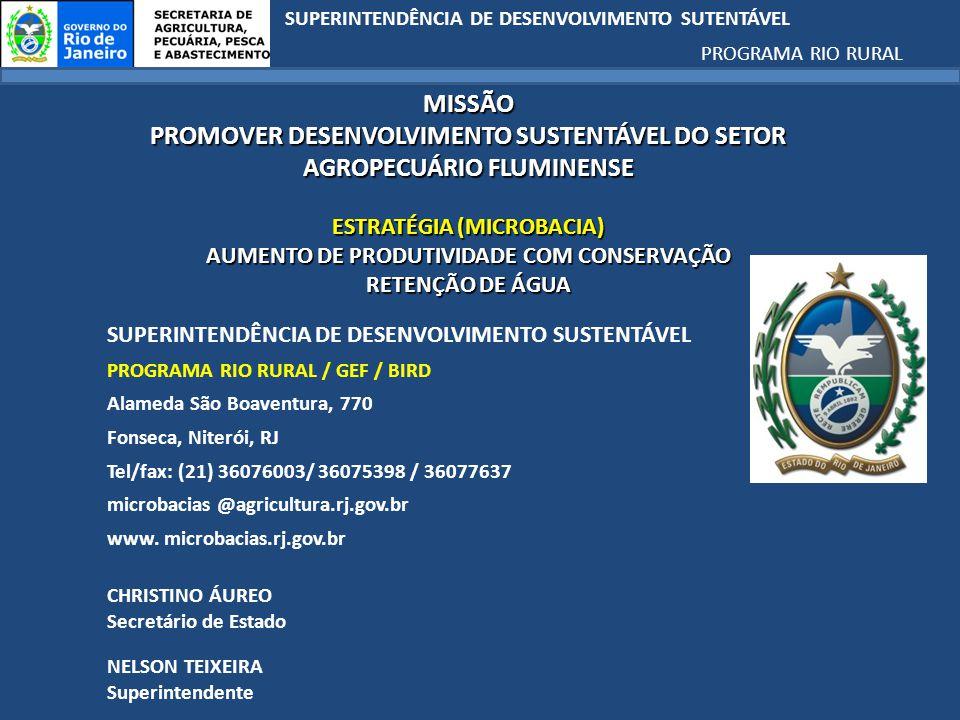 SUPERINTENDÊNCIA DE DESENVOLVIMENTO SUTENTÁVEL PROGRAMA RIO RURAL MISSÃO PROMOVER DESENVOLVIMENTO SUSTENTÁVEL DO SETOR AGROPECUÁRIO FLUMINENSE ESTRATÉGIA (MICROBACIA) AUMENTO DE PRODUTIVIDADE COM CONSERVAÇÃO RETENÇÃO DE ÁGUA SUPERINTENDÊNCIA DE DESENVOLVIMENTO SUSTENTÁVEL PROGRAMA RIO RURAL / GEF / BIRD Alameda São Boaventura, 770 Fonseca, Niterói, RJ Tel/fax: (21) 36076003/ 36075398 / 36077637 microbacias @agricultura.rj.gov.br www.