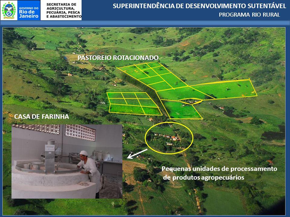 SUPERINTENDÊNCIA DE DESENVOLVIMENTO SUTENTÁVEL PROGRAMA RIO RURAL PASTOREIO ROTACIONADO Pequenas unidades de processamento de produtos agropecuários CASA DE FARINHA PROGRAMA RIO RURAL