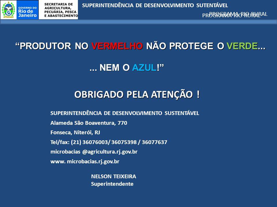 SUPERINTENDÊNCIA DE DESENVOLVIMENTO SUTENTÁVEL PROGRAMA RIO RURAL OBRIGADO PELA ATENÇÃO .