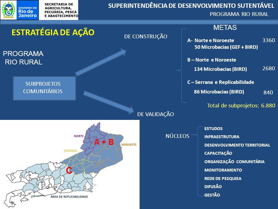 SUPERINTENDÊNCIA DE DESENVOLVIMENTO SUTENTÁVEL PROGRAMA RIO RURAL PROGRAMA RIO RURAL SUBPROJETOS COMUNITÁRIOS ESTRATÉGIA DE AÇÃO DE CONSTRUÇÃO DE VALIDAÇÃO 3360 2680 840 Total de subprojetos: 6.880 A- Norte e Noroeste 50 Microbacias (GEF + BIRD) B – Norte e Noroeste 134 Microbacias (BIRD) C – Serrana e Replicabilidade 86 Microbacias (BIRD) NÚCLEOS ESTUDOS INFRAESTRUTURA DESENVOLVIMENTO TERRITORIAL CAPACITAÇÃO ORGANIZAÇÃO COMUNITÁRIA MONITORAMENTO REDE DE PESQUISA DIFUSÃO GESTÃO A + B C METAS
