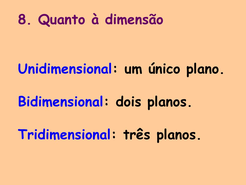 8. Quanto à dimensão Unidimensional: um único plano. Bidimensional: dois planos. Tridimensional: três planos.