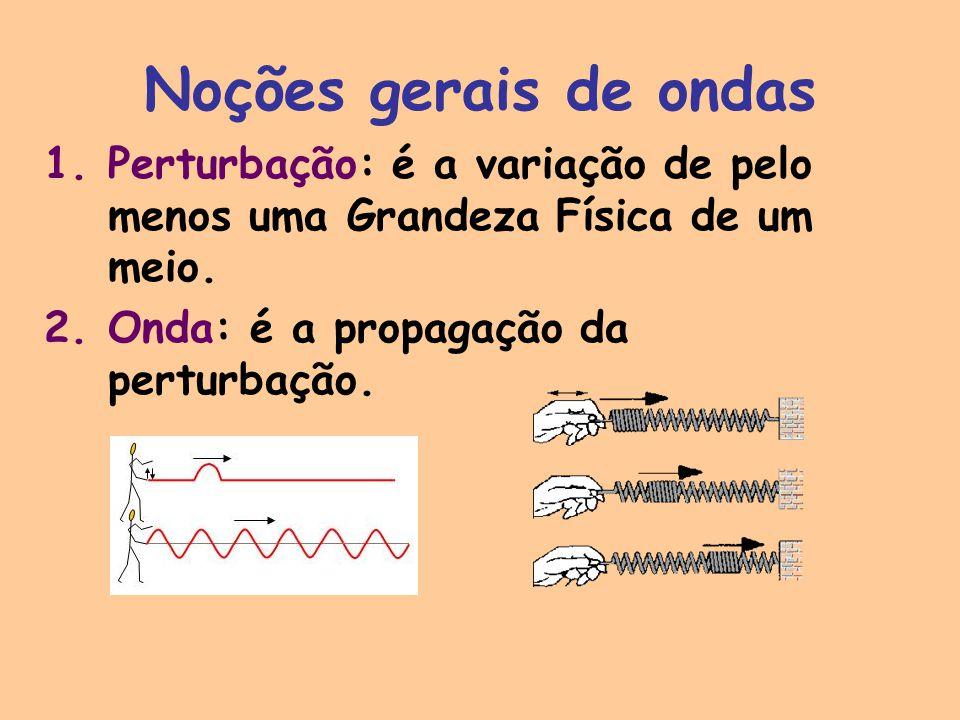 Noções gerais de ondas 1.Perturbação: é a variação de pelo menos uma Grandeza Física de um meio. 2.Onda: é a propagação da perturbação.