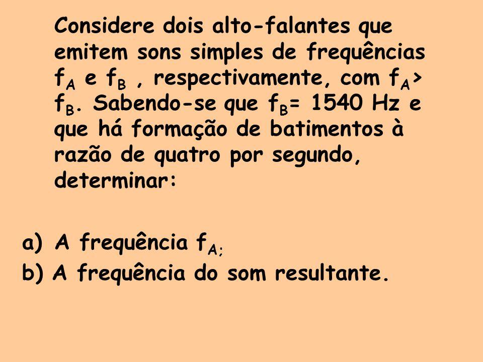 Considere dois alto-falantes que emitem sons simples de frequências f A e f B, respectivamente, com f A > f B. Sabendo-se que f B = 1540 Hz e que há f