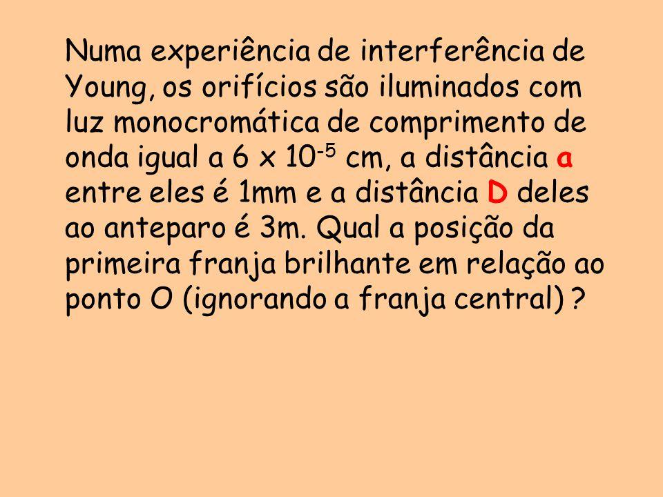 Numa experiência de interferência de Young, os orifícios são iluminados com luz monocromática de comprimento de onda igual a 6 x 10 -5 cm, a distância a entre eles é 1mm e a distância D deles ao anteparo é 3m.