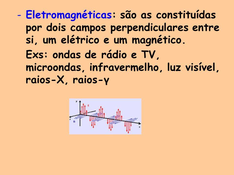 -Eletromagnéticas: são as constituídas por dois campos perpendiculares entre si, um elétrico e um magnético. Exs: ondas de rádio e TV, microondas, inf