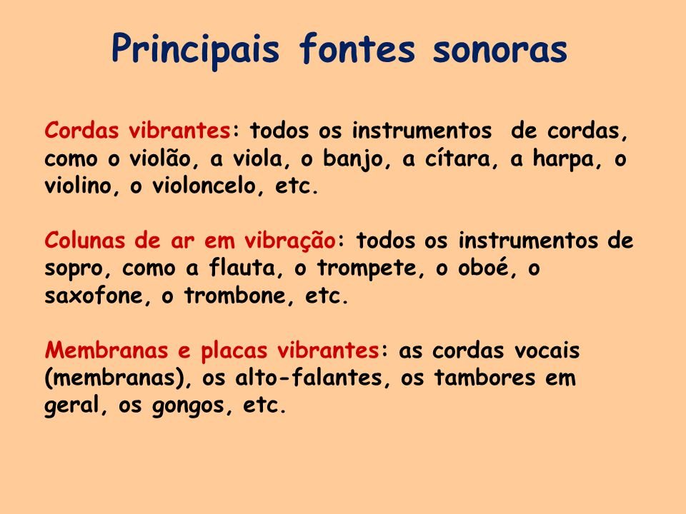 Principais fontes sonoras Cordas vibrantes: todos os instrumentos de cordas, como o violão, a viola, o banjo, a cítara, a harpa, o violino, o violoncelo, etc.