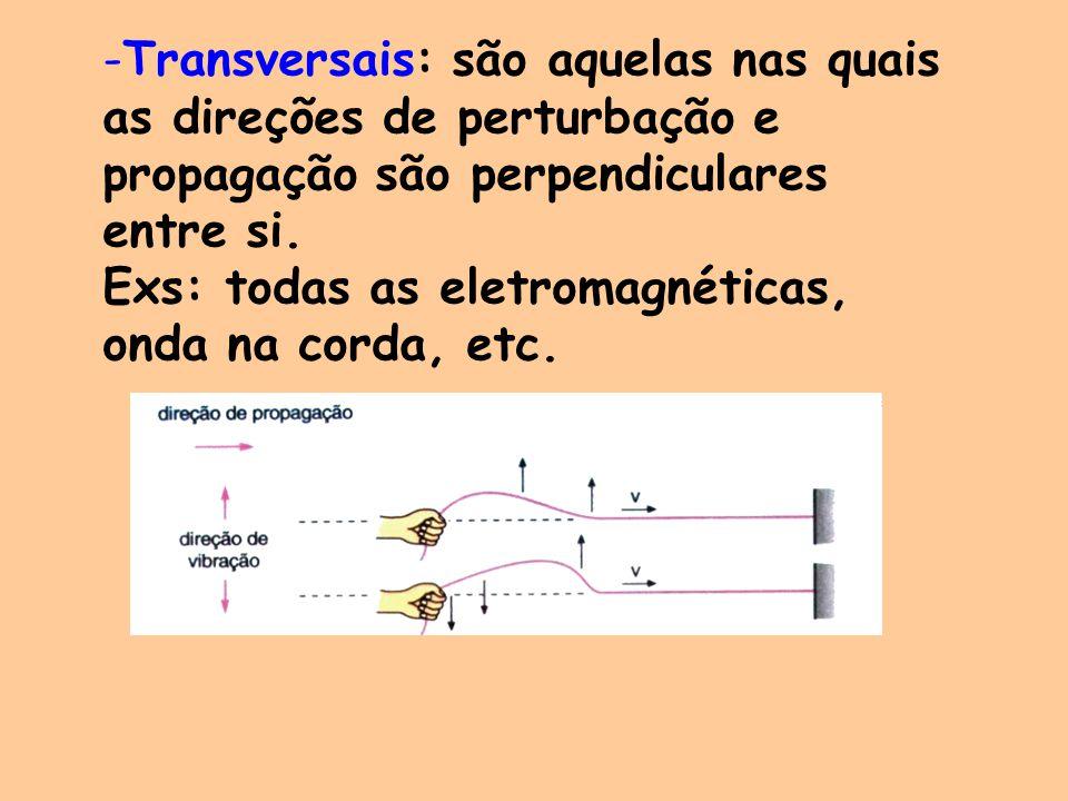 -Transversais: são aquelas nas quais as direções de perturbação e propagação são perpendiculares entre si. Exs: todas as eletromagnéticas, onda na cor