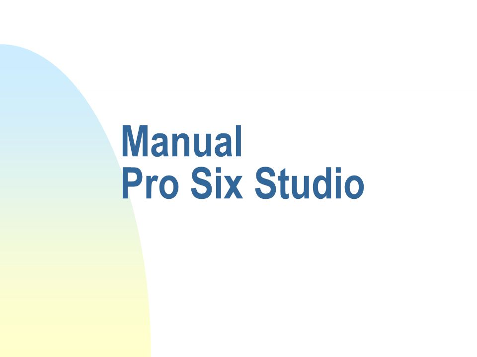 Manual Pro Six Studio