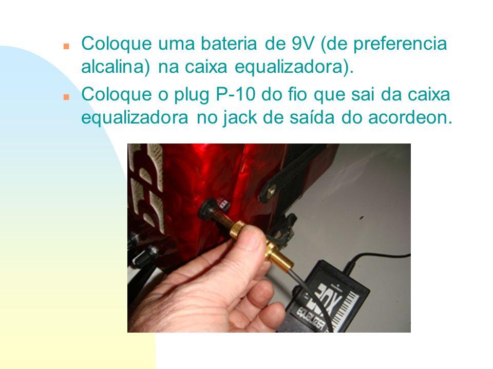 n Coloque uma bateria de 9V (de preferencia alcalina) na caixa equalizadora). n Coloque o plug P-10 do fio que sai da caixa equalizadora no jack de sa