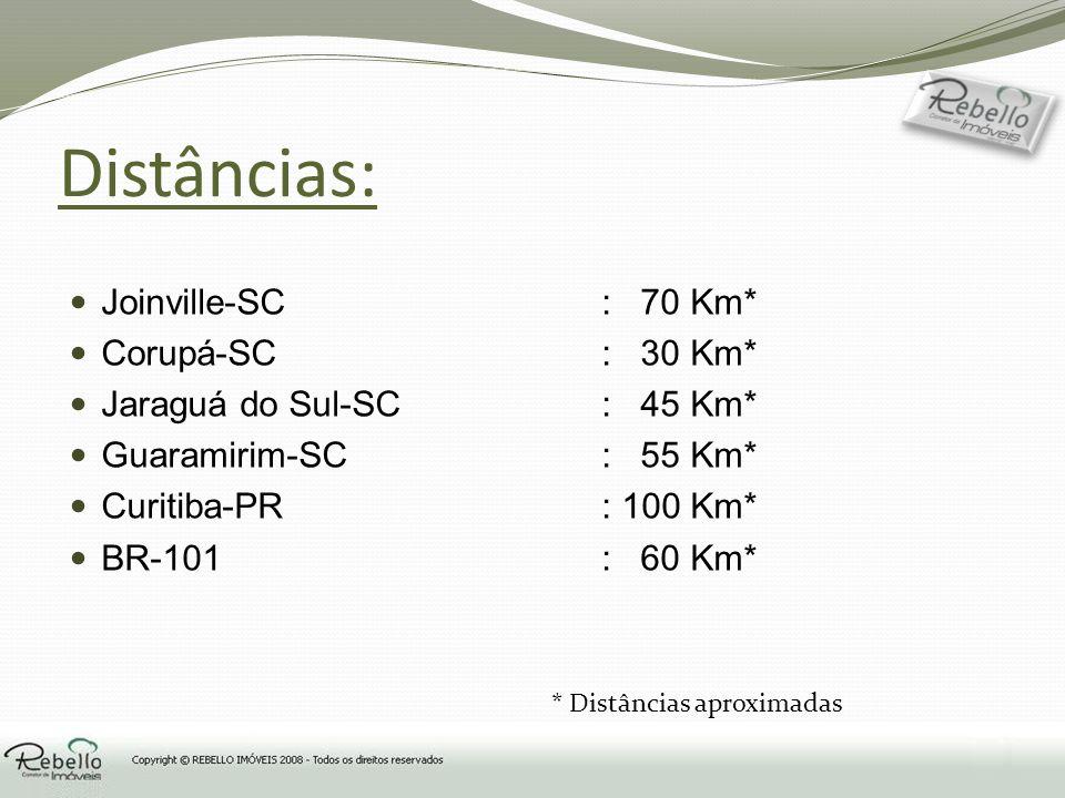 Distâncias: Joinville-SC: 70 Km* Corupá-SC: 30 Km* Jaraguá do Sul-SC: 45 Km* Guaramirim-SC: 55 Km* Curitiba-PR: 100 Km* BR-101 : 60 Km* * Distâncias a