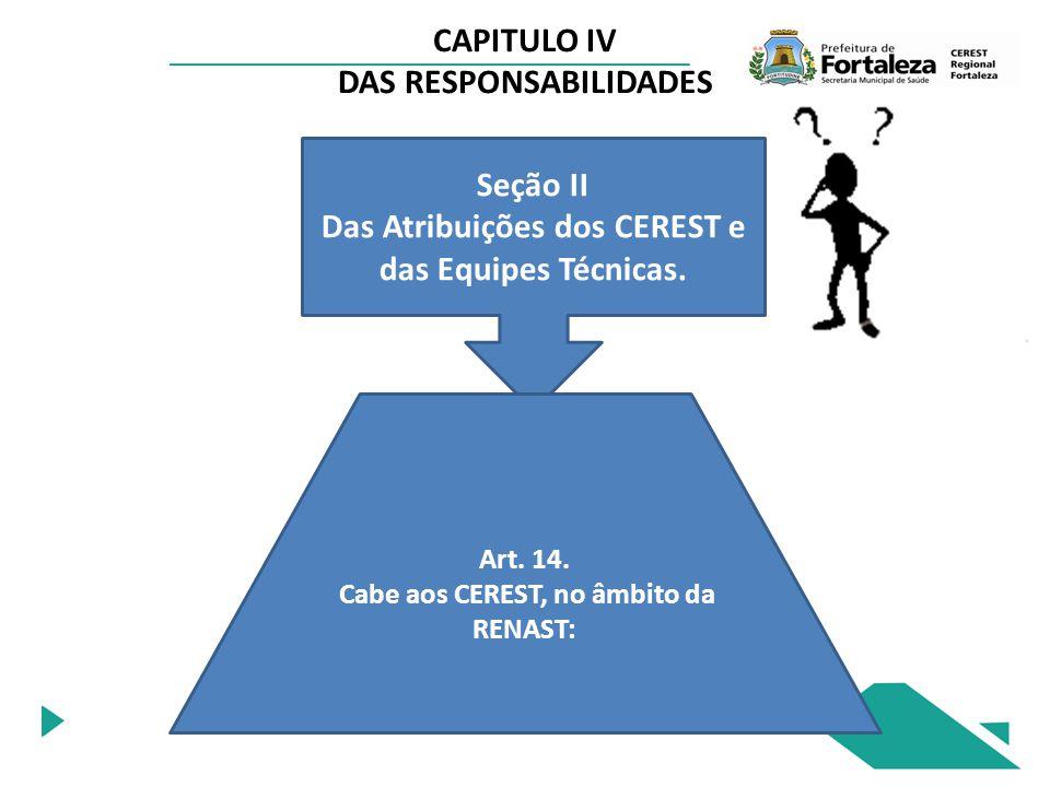 CAPITULO IV DAS RESPONSABILIDADES Seção II Das Atribuições dos CEREST e das Equipes Técnicas. Art. 14. Cabe aos CEREST, no âmbito da RENAST: