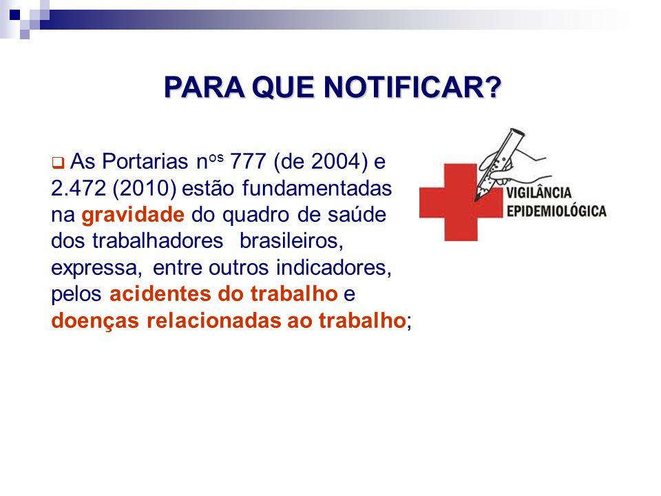 As Portarias n os 777 (de 2004) e 2.472 (2010) estão fundamentadas na gravidade do quadro de saúde dos trabalhadores brasileiros, expressa, entre outr